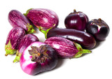 Different varieties of eggplant with water drops