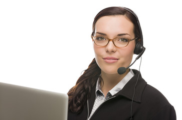Mixed Race Receptionist In Front of Computer Wearing Phone Head-
