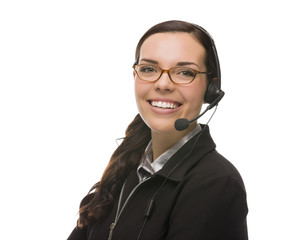 Friendly Mixed Race Receptionist Wearing Phone Head Set