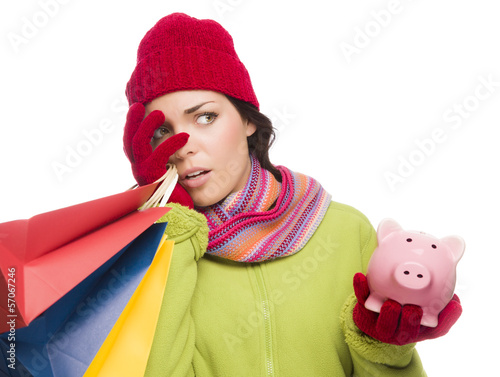 Concerned Expressive Mixed Race Woman Holding Shopping Bags and