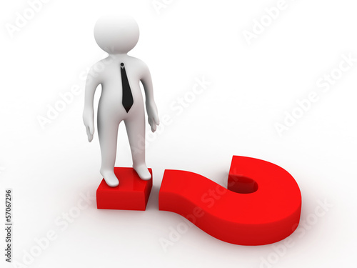 3d human with question mark