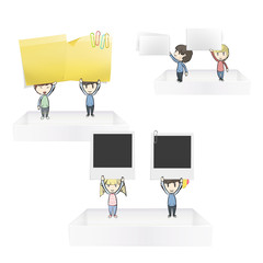 Group of kids holding posit, businesscard and empty photo
