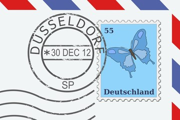 Dusseldorf stamp on a letter - vector illustration