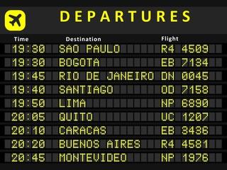 South America departures - vector illustration
