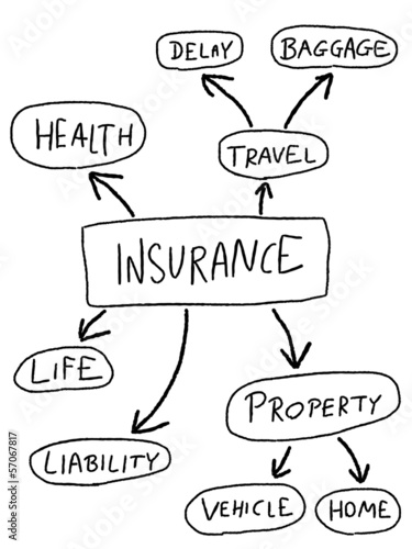 Insurance types mind map vector