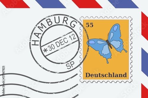 Hamburg postage stamp on a letter - vector illustration