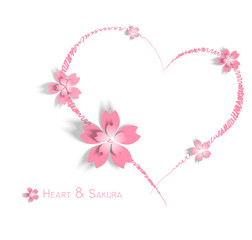 flower and heart on wedding or valentine' day