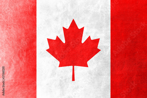 Canada Flag painted on leather texture
