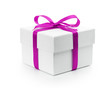 white textured gift box with purple ribbon bow - 57068474