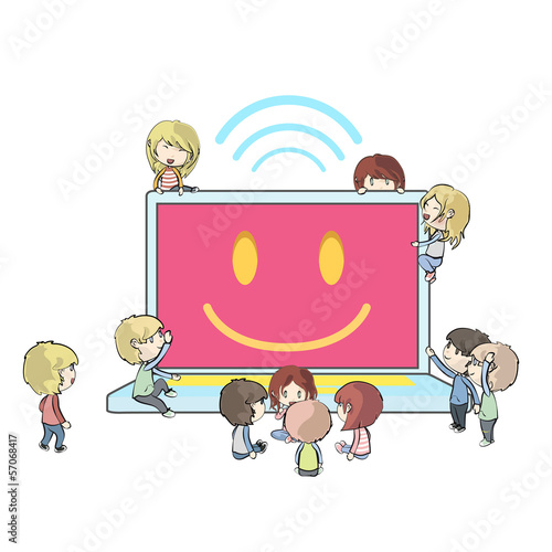 Kids around modern laptop over white background. Vector design