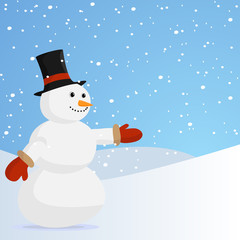 Snowman with hat and gloves