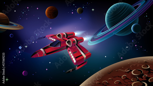 Spaceship, planets and space.