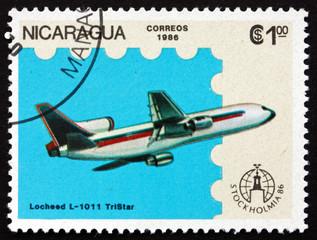 Postage stamp Nicaragua 1986 Lockheed L-1011 Tristar, Airplane