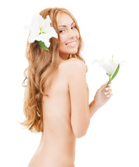 beautiful naked woman with white lily flower