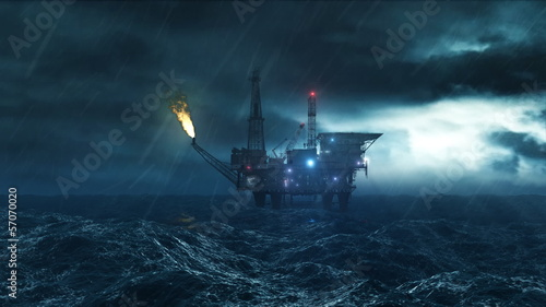 Oil platform in the storm loop HD