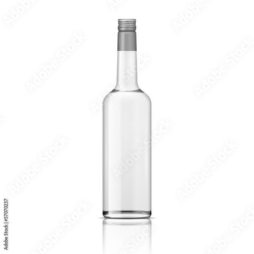 Glass vodka bottle with screw cap.