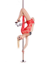 Blond slim pole dance woman. Performance. Sexy girl Isolated on