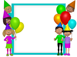 Group of 3d party kids, frame