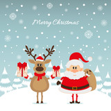 Santa Claus and reindeer with gifts