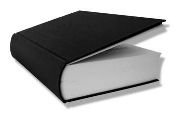 Schwarzes Buch Hardcover, leicht aufgeschlagen
