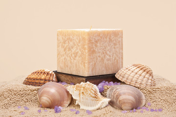 Aroma candle with sea shells