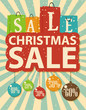Christmas sale design with shopping bag and christmas balls
