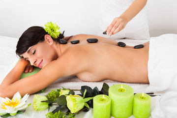 Woman Receiving Lastone Massage