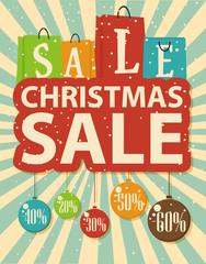 Christmas sale design with shopping bag and christmas balls
