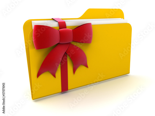 Folder with Celebration Bow (clipping path included)