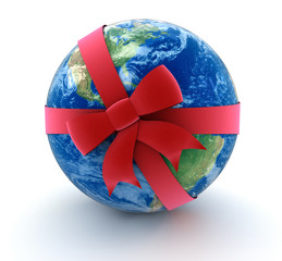 Globe and Celebration Bow (clipping path included)
