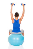 Woman Doing Exercise With Fitness Ball