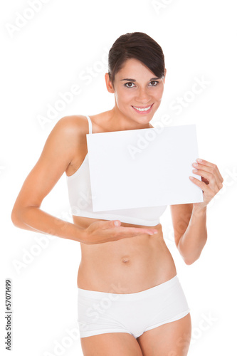 Woman Showing Placard
