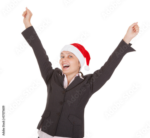 Happy Excited Businesswoman wearing santa hat