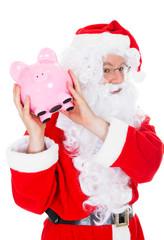 Santa holding piggy bank