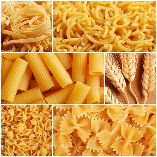 collage di fotografie a tema pasta italiana di grano duro