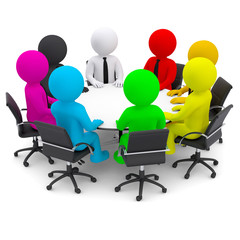 Multicolored people sitting at a round table