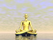 Gold meditation - 3D render