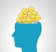 Human head with a lot of light bulb ideas
