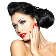 fashion woman with red lips, nails and creative hairstyle