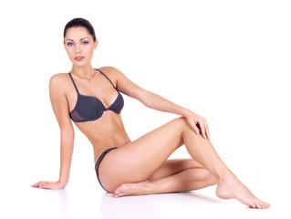 Woman with beautiful long slim legs