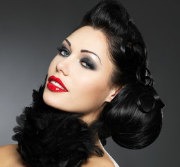 Fashion woman with beauty hairstyle and style makeup