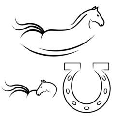 Pferde und Hufeisen