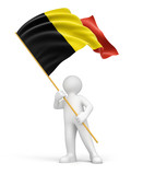 Man and Belgian flag (clipping path included)