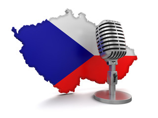 Microphone and Czech (clipping path included)