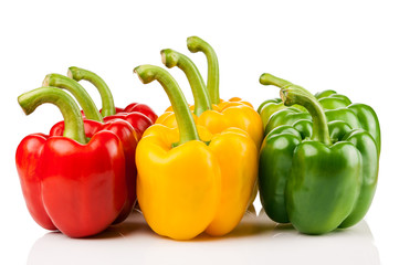 red, yellow, green pepper