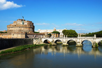 Castle Sant'Angelo and bridge on the Tiber River, Rome, Italy