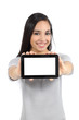 Pretty woman showing a blank horizontal tablet screen isolated