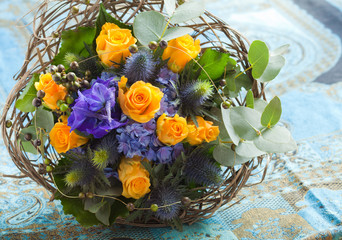 beautiful blue and yellow bouquet
