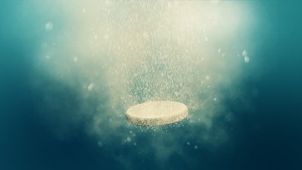 Fizzy pill dissolves in the water - loop