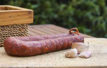 Chorizo sobre tabla